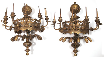 Monumental Pair of Gas & Electric Wall Sconces