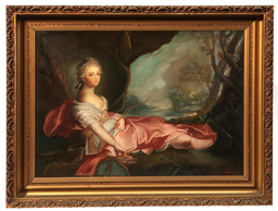 Diana Reclining Oil on Canvas Painting