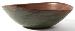 EARLY WOODEN BOWL W/OLD GREEN PAINT