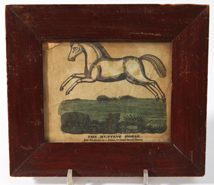 EARLY HAND COLORED PRINT THE HUNTING HORSE