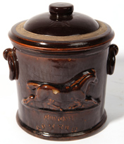 STONEWARE TOBACCO JAR WITH EMBOSSED HORSE