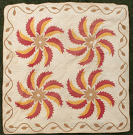 EARLY APPLIQUE SPIRAL FEATHER & STAR QUILT