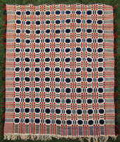 UNUSUAL RED, WHITE & BLUE OVERSHOT COVERLET