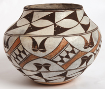 NATIVE AMERICAN ACOMA POLYCHROME POTTERY OLLA
