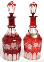 PR. BOHEMIAN RUBY CUT TO CLEAR DECANTERS