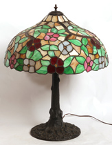 LARGE LEADED GLASS LAMP W/TREE TRUNK BASE