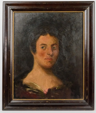 Early American Oil Portrait of Young Lady