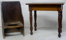 VERY EARLY POTTY CHAIR & MINIATURE TABLE