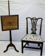 CHIPPENDALE CHAIR & FIRE SCREEN
