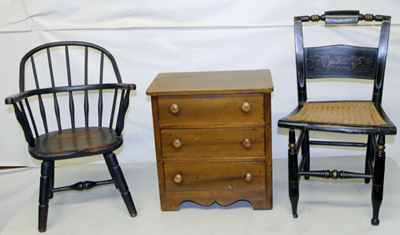 CHILD'S CHAIRS & MINIATURE CHEST