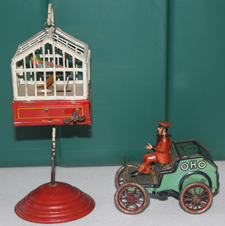WINDUP BIRD IN CAGE & EARLY OHO TOY