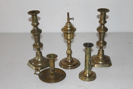 EARLY WHALE OIL LAMP & CANDLESTICKS