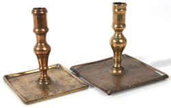 PR. OF EARLY SPANISH BRASS QUEEN ANNE CANDLESTICKS