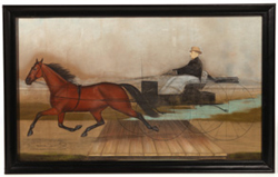 FOLK ART PASTEL PAINTING OF RACING TROTTER
