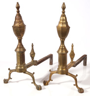 PR. PERIOD BRASS CHIPPENDALE ANDIRONS