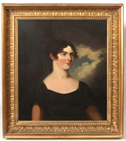 AMERICAN PORTRAIT PAINTING OF YOUNG LADY