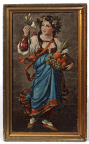 EARLY FOLK ART PAINTING OF GIRL W/FLOWERS