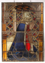 FINE EARLY STAINED GLASS WINDOW