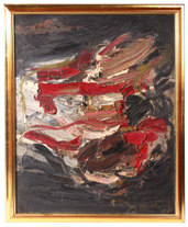 ILLEGIBLY SIGNED MID-CENTURY ABSTRACT PAINTING