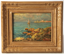 ILLEGIBLY SIGNED IMPRESSIONISTIC PAINTING OF SEA COAST