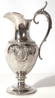 AMERICAN COIN SILVER WOODS & HUGHES WINE PITCHER