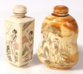 TWO CHINESE BONE SNUFF BOTTLES