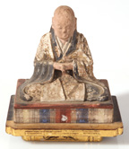 TIBETAN WOOD POLYCHROME PAINTED SCULPTURE