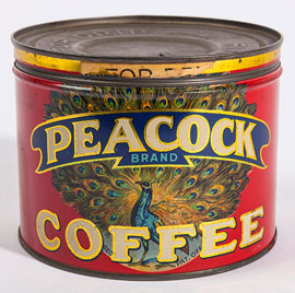 Peacock Coffee Tin
