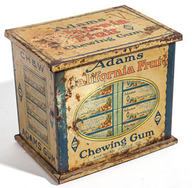 Adams California Fruit Chewing Gum Counter Display Tin