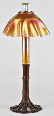 L.C. Tiffany Gold Favrile Candlestick Oil Lamp