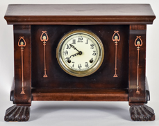 Harvey Ellis Design Copper & Pewter  Inlaid Clock