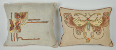 Two Embroidered Arts & Crafts Cushions
