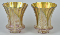 Unusual Pair Of Quezal Pulled Feather Glass Gas Light Shades