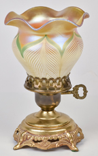 Quezal Art Glass Boudoir Lamp