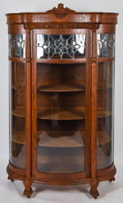 Super Curved & Leaded Glass Oak China Cabinet