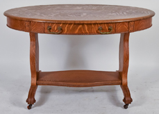 Oval Oak Library Table