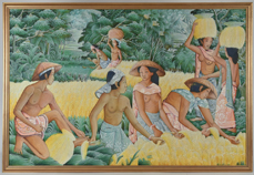Signed Balinese Oil Painting, Rice Harvest