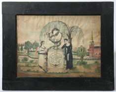 1820 ASA PHELPS MOURNING WATERCOLOR