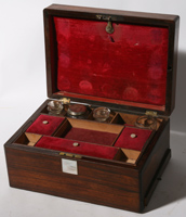 ROSEWOOD TRAVELING BOX W/MOTHER-OF-PEARL INLAY