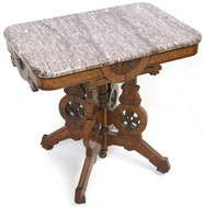 FINE EASTLAKE VICTORIAN MARBLE TOP TABLE