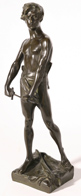 BRONZE FIGURE OF YOUTH WITH SWORD
