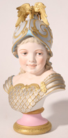 BISQUE PORCELAIN BUST OF CHILD IN ARMOR