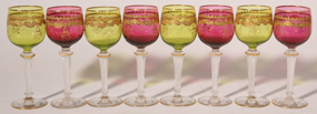 SET OF 8 FINE ART GLASS WINE GLASSES