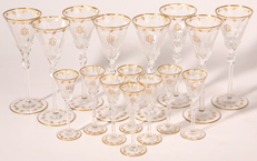 SET OF 16 INTAGLIO CUT WINES & CORDIALS