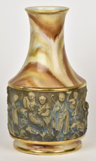 Rare Nippon Vase with Molded in Relief Oriental Figures