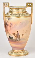 Large Nippon Vase with Man on Camel in Desert Scene