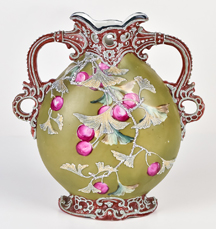 Nippon Vase with Moriage Florals over Fruit