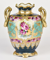Nippon Vase with Roses and Heavy Gold Decoration