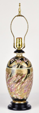 Nippon Lamp with Unusual Colors & Gold Beadwork.
