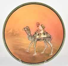 Nippon Man on Camel Molded in Relief Plaque